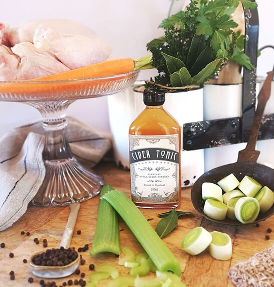 Ingredients for Chicken Brodo recipe with Cider Tonic Everyday Apple Cider Vinegar
