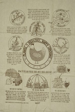 Good Life Permaculture Chicken Tea Towel Cider Tonic